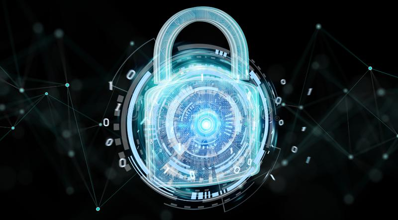 Web security protection background 3D rendering. Web security protection interface on black background 3D rendering royalty free illustration
