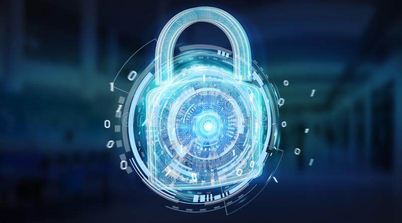 Web security protection background 3D rendering. Web security protection interface on blue server background 3D rendering stock illustration