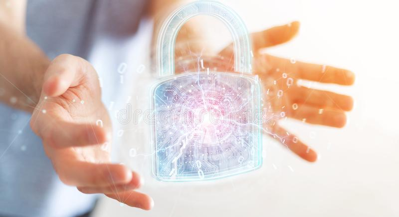 Web security protection interface used by businessman 3D renderi. Web security protection interface used by businessman on blurred background 3D rendering stock illustration