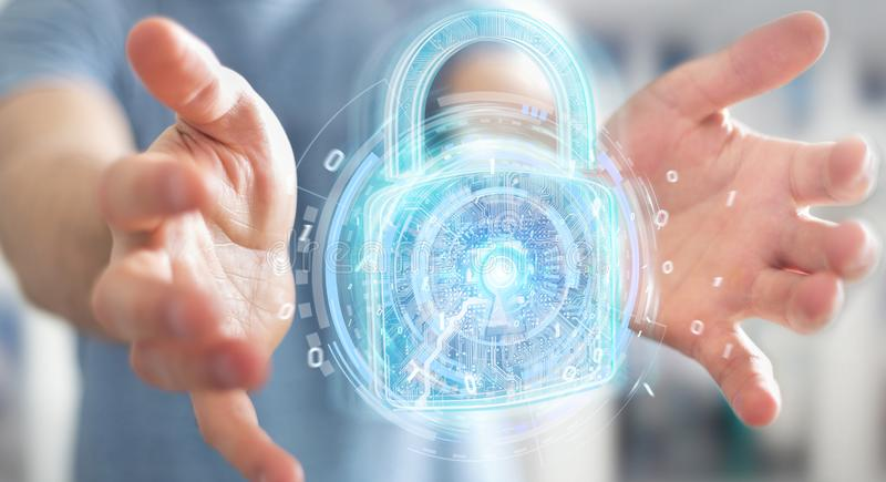 Web security protection interface used by businessman 3D rendering. Web security protection interface used by businessman on blurred background 3D rendering stock illustration