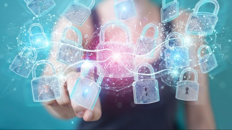 Web security protection interface used by businesswoman 3D rendering. Web security protection interface used by businesswoman on blurred background 3D rendering stock illustration