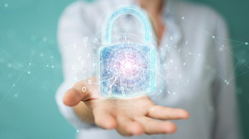 Web security protection interface used by businesswoman 3D rendering. Web security protection interface used by businesswoman on blurred background 3D rendering vector illustration