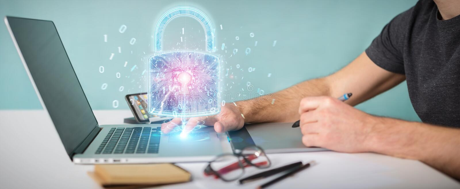 Web security protection interface used by graphic designer 3D rendering. Web security protection interface used by graphic designer in office 3D rendering stock illustration