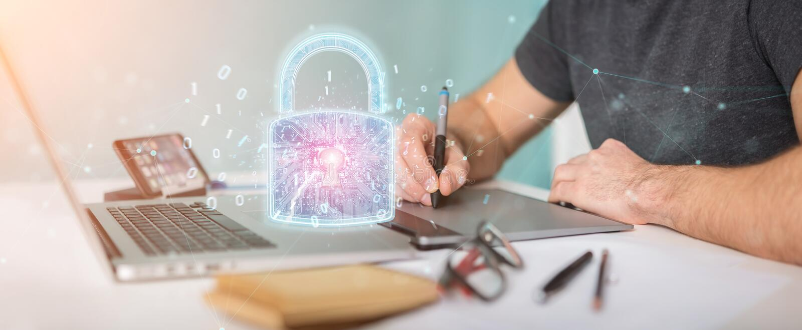 Web security protection interface used by graphic designer 3D rendering stock illustration