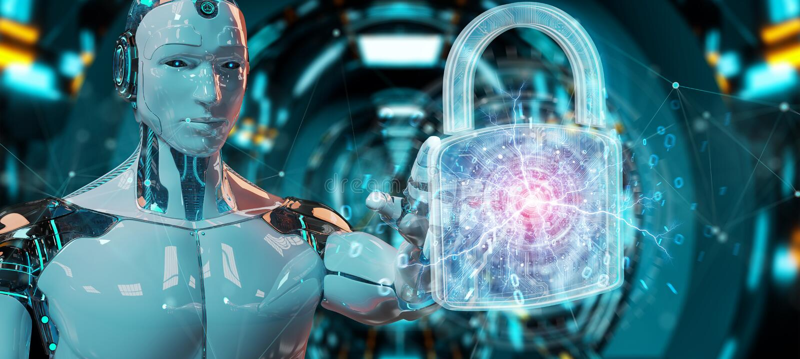 Web security protection interface used by robot 3D rendering. Web security protection interface used by robot on blurred background 3D rendering royalty free illustration