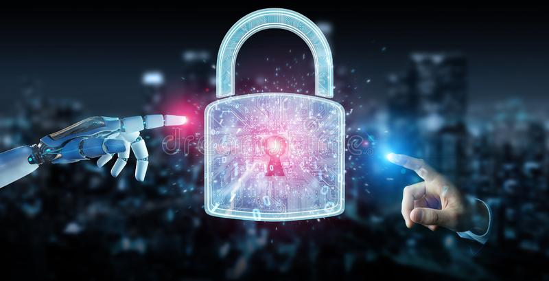Web security protection interface used by robot 3D rendering. Web security protection interface used by robot on blurred background 3D rendering stock illustration