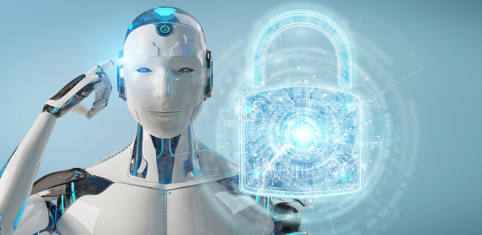 Web security protection interface used by robot 3D rendering. Web security protection interface used by robot on blurred background 3D rendering vector illustration