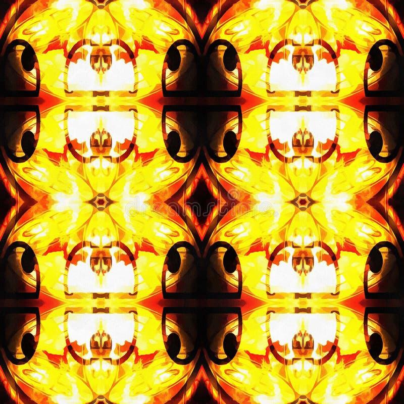 Web senza cuciture tribale moderno arancio del modello di Ikat fotografia stock libera da diritti
