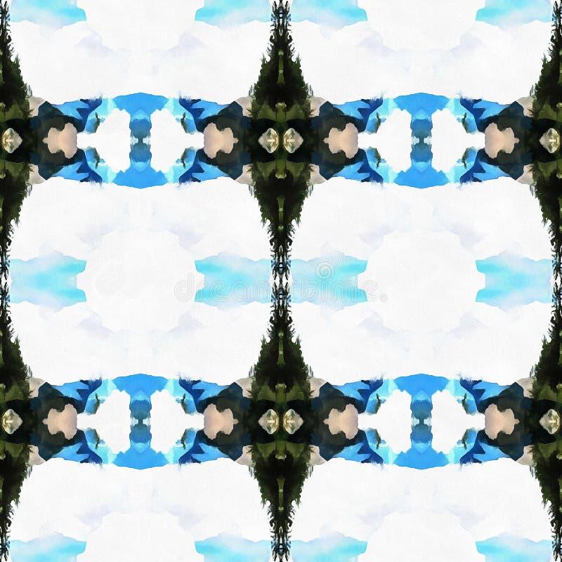 Web senza cuciture tribale moderno blu del modello di Ikat immagine stock