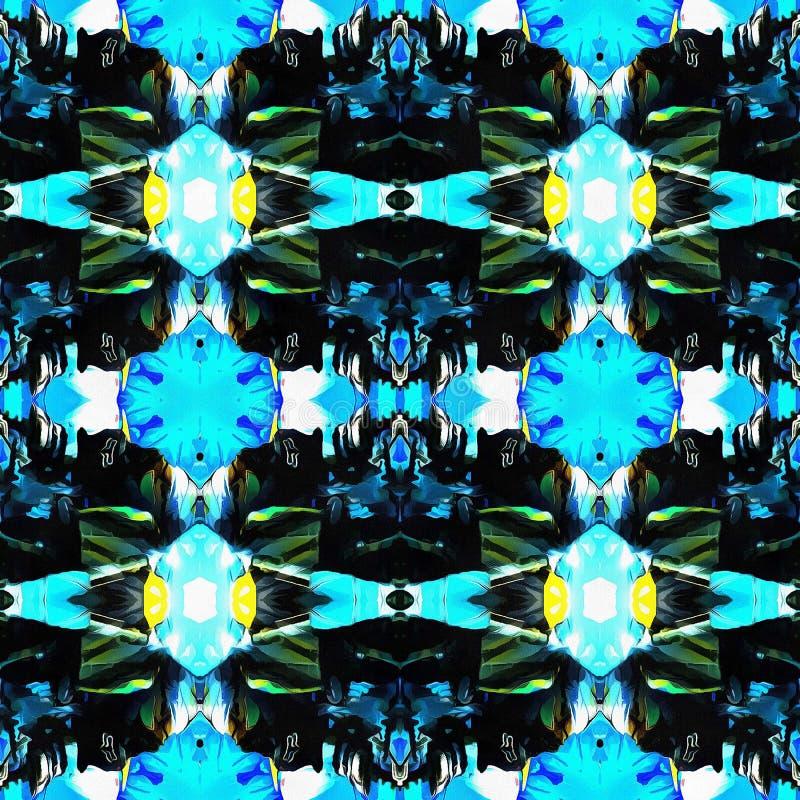 Web senza cuciture tribale moderno blu del modello di Ikat fotografie stock