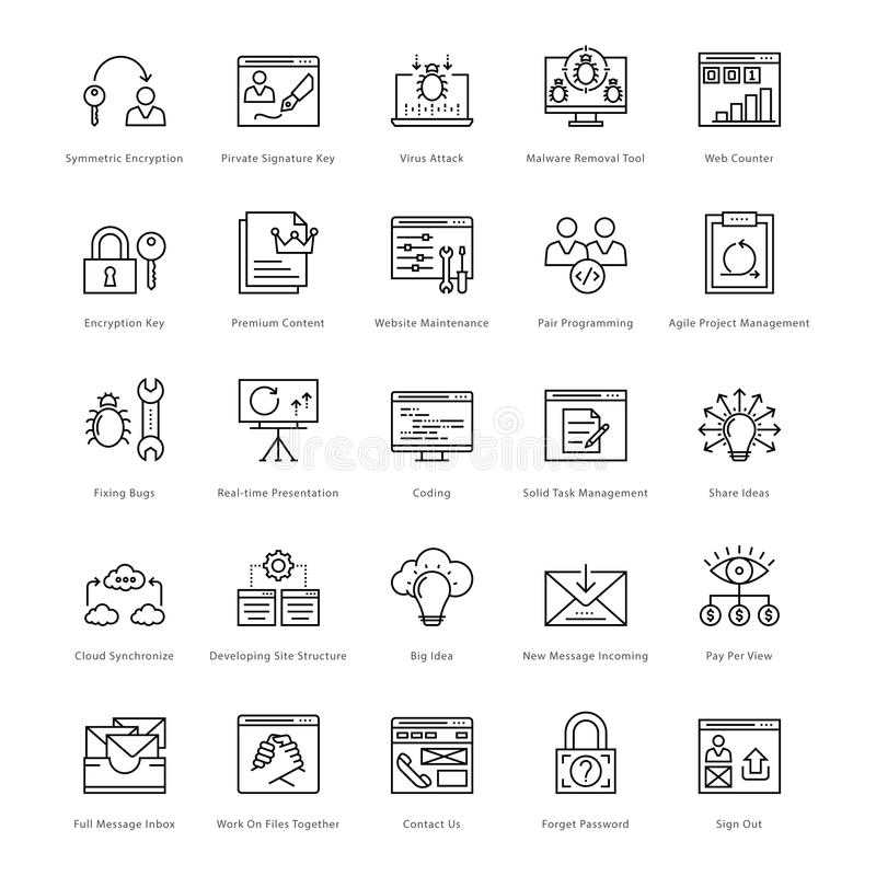 Web and SEO Line Vector Icons 37 stock illustration