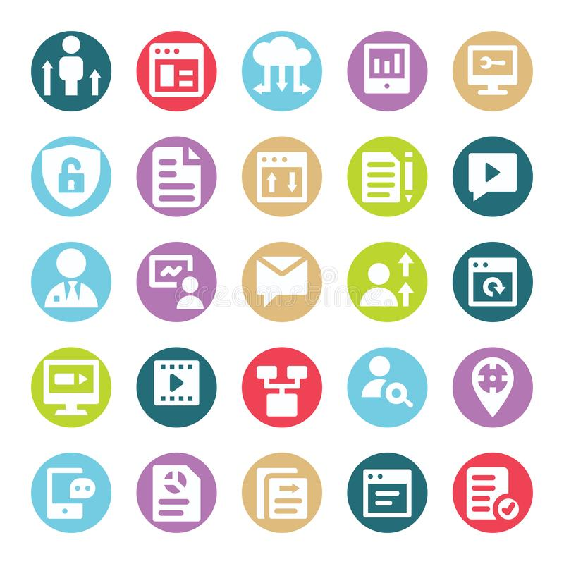 Web, SEO, Tools and Digital Marketing Two Color Glyph Vectors Isolated editable Icons Pack royalty free illustration