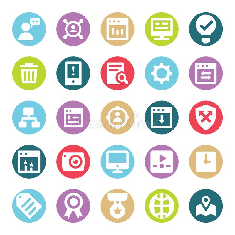 Web, SEO, Tools and Digital Marketing Two Color Glyph Vectors Isolated editable Icons Pack stock illustration