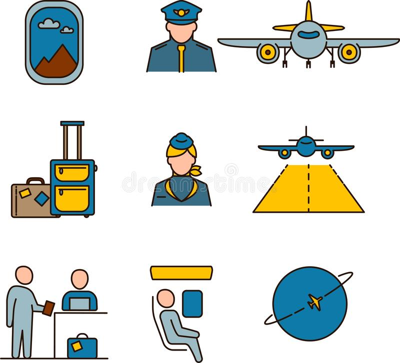 Set of colored vector icons aviation. Pilot, airplane, luggage, cabin crew, passengers .Flat Illustration. Safe flight. royalty free stock photography
