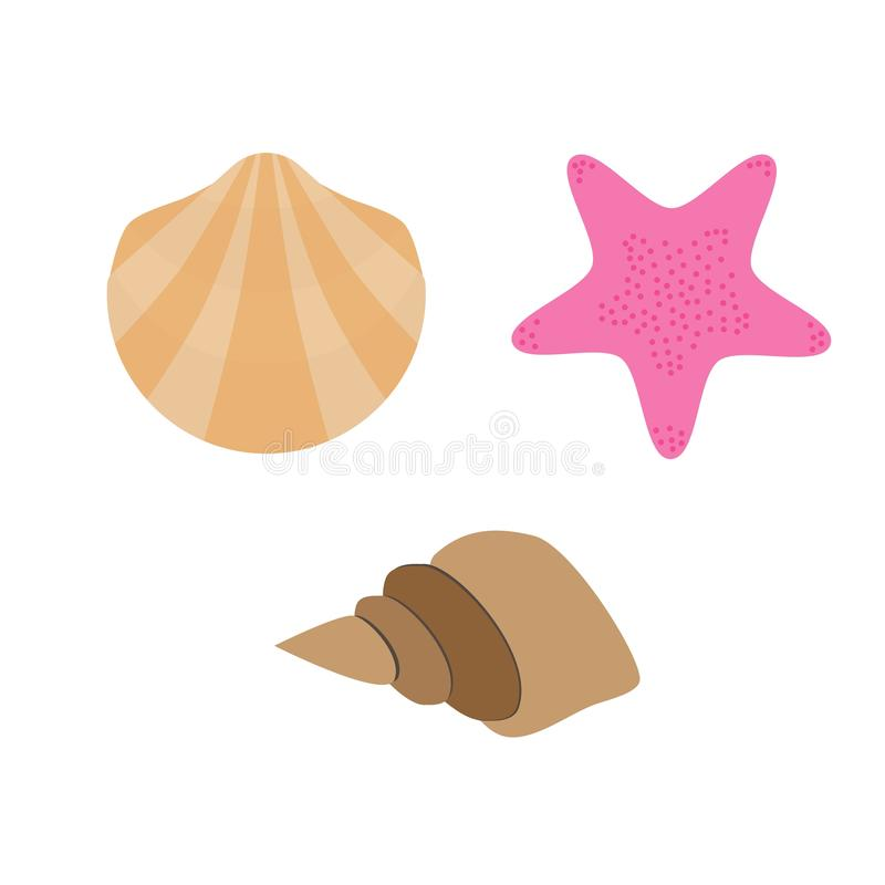 Set of shell, conch and starfish vector illustration. Isolated on white background royalty free illustration