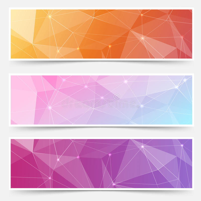 Web shining crystal structure banner headers. Footers for website with glossy shimmering lines. Vector illustration stock illustration