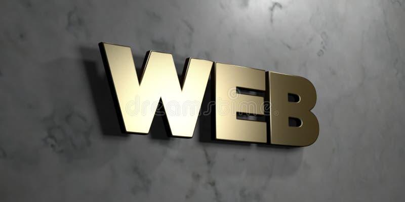 A Web - sinal do ouro montado na parede de mármore lustrosa - 3D rendeu a ilustração conservada em estoque livre dos direitos ilustração stock