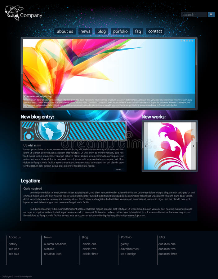 Web site. Design template in black vector illustration