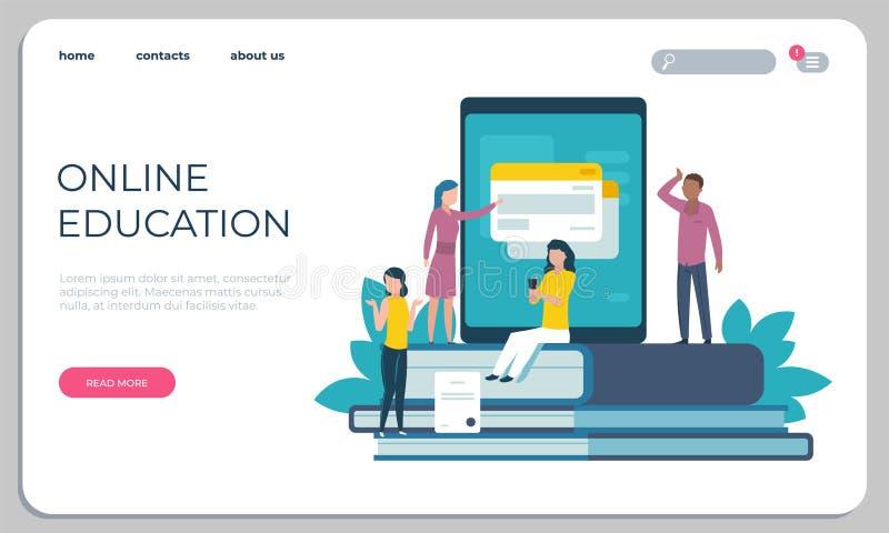 Web site acessível da educação Aprendizagem em linha para deficientes motores do conceito Estudantes de formação da página do ace ilustração stock