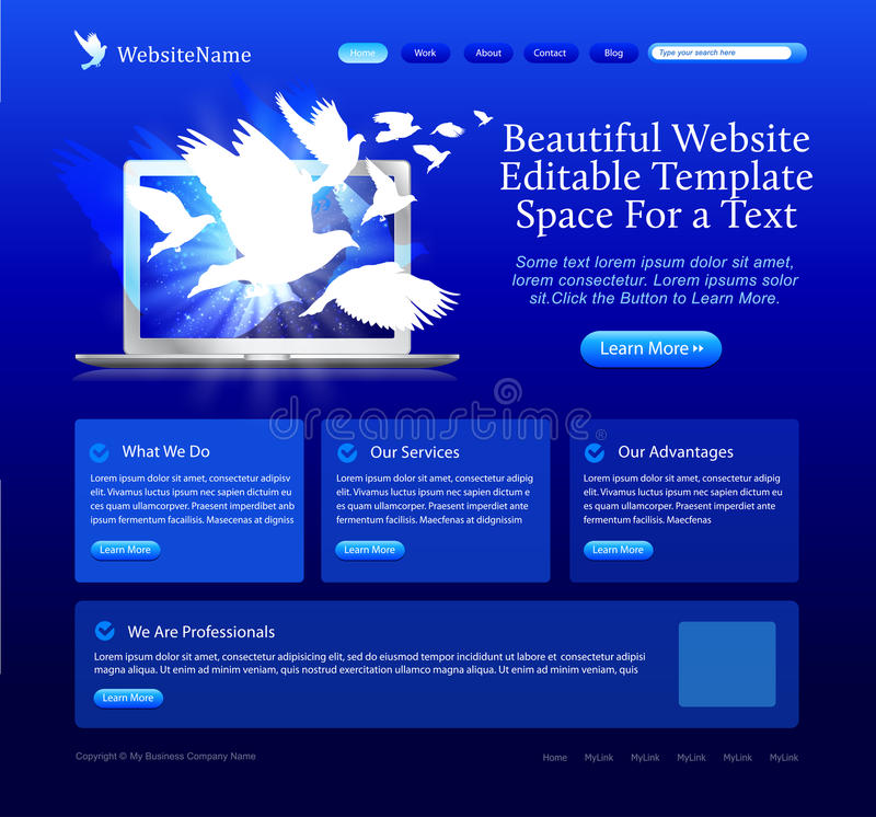 Web site azul com pombas ilustração do vetor