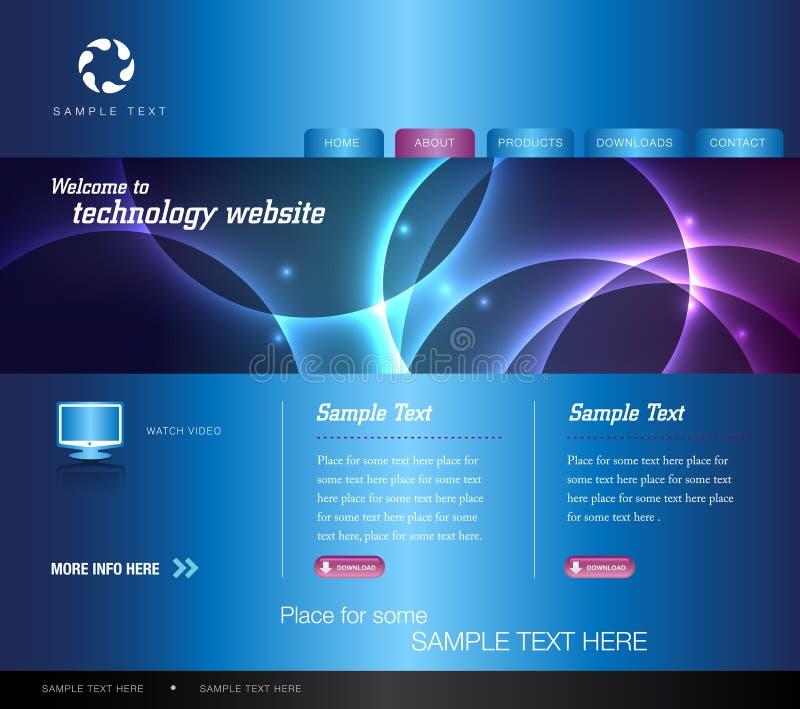 Web site azul de la tecnología ilustración del vector
