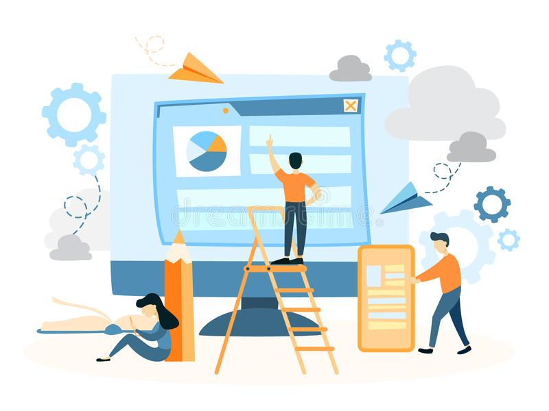 Web site building. People creating interface and usage stock illustration