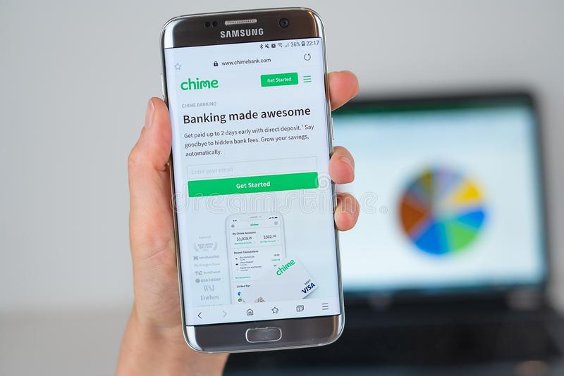 Web site of Chime Bank on phone screen. Barcelona / Spain 06 10 2019: Chime Bank web site on mobile phone screen. Mobile version of Chime Bank web page on royalty free stock photos