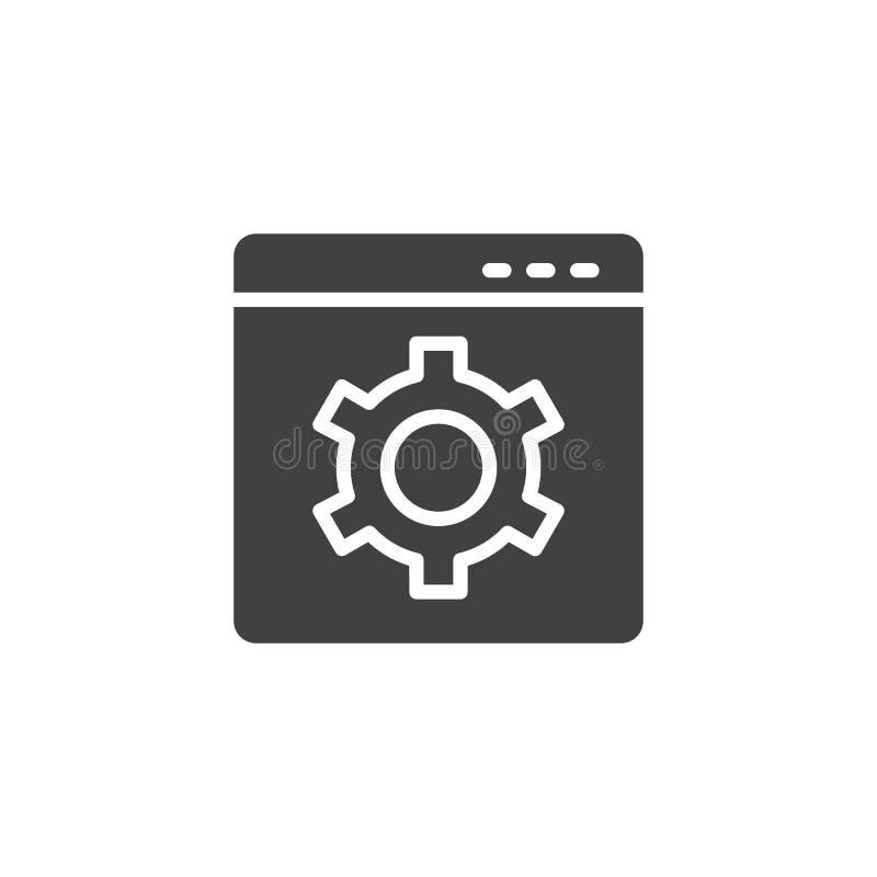 Web site com ícone do vetor da roda denteada do ajuste ilustração royalty free