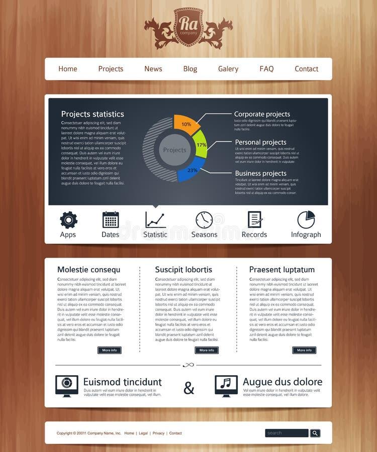 Web site con infographics stock de ilustración