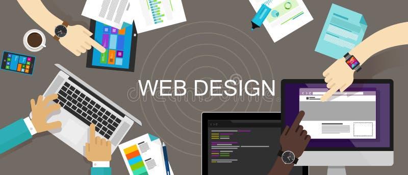 Web site criativo satisfeito do design web responsivo ilustração royalty free