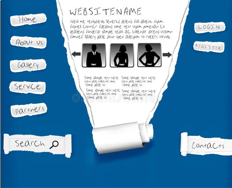 Web site da documento strappato blu. Modello di disegno. illustrazione vettoriale