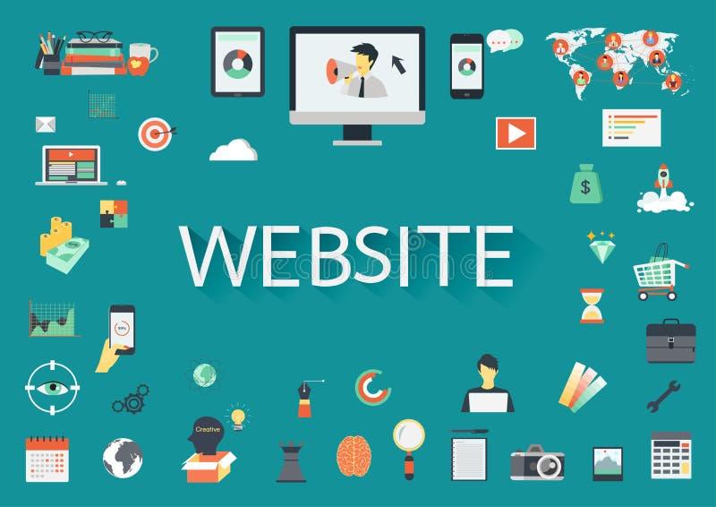 WEB SITE da palavra cercado por ícones lisos relacionados ilustração stock