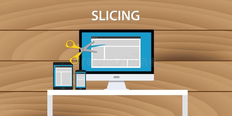 Web site da Web que corta o projeto do HTML da aplicação do desenvolvimento de processo ilustração stock