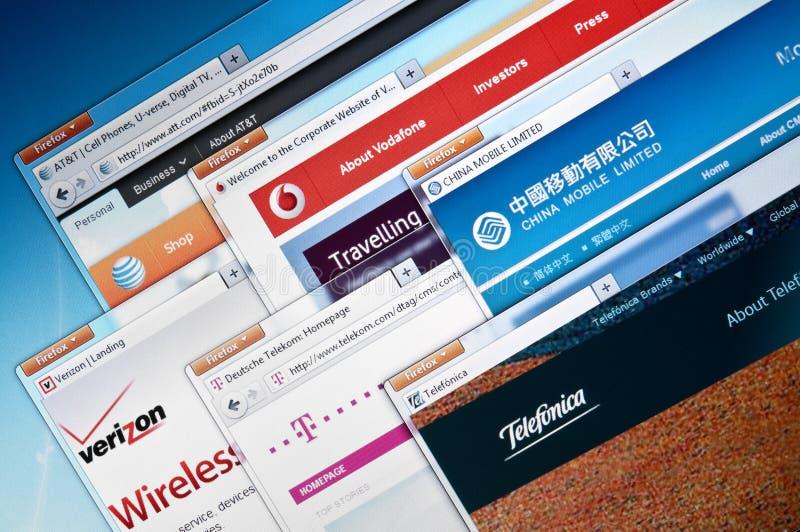 Web site das empresas de telecomunicações imagem de stock