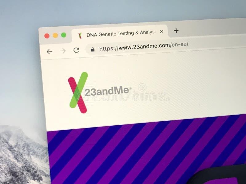 Web site de 23andme imagem de stock royalty free