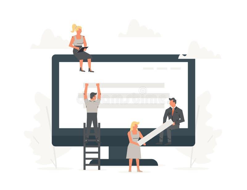 Web site de construção dos povos pequenos do escritório com blocos no navegador O homem de negócios é construção um o projeto do  ilustração royalty free