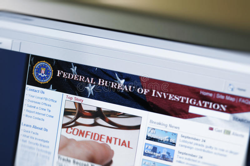 Web site de FBI - página de Internet principal imagens de stock royalty free