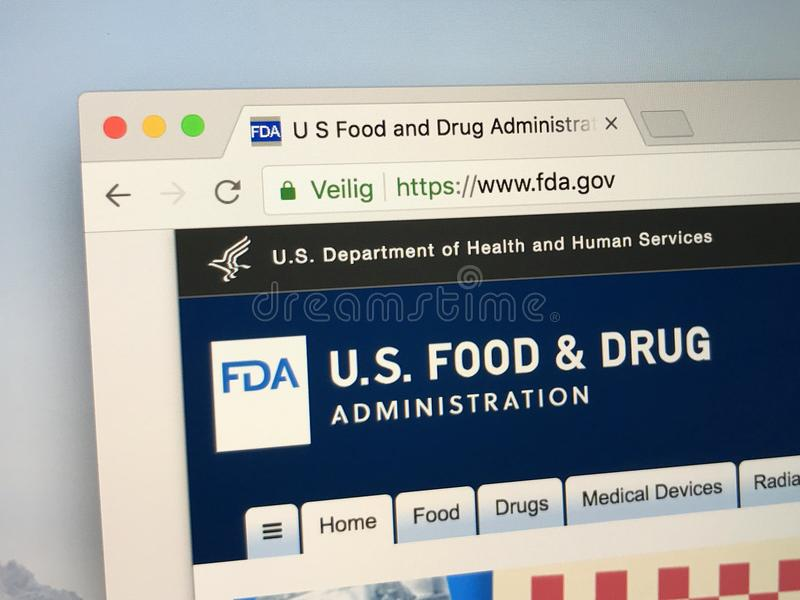 Web site de FDA, Food and Drug Administration imagens de stock royalty free