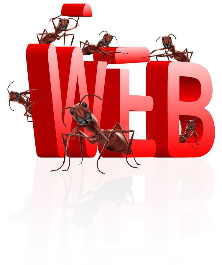 Web site del edificio del Web bajo construcción ilustración del vector