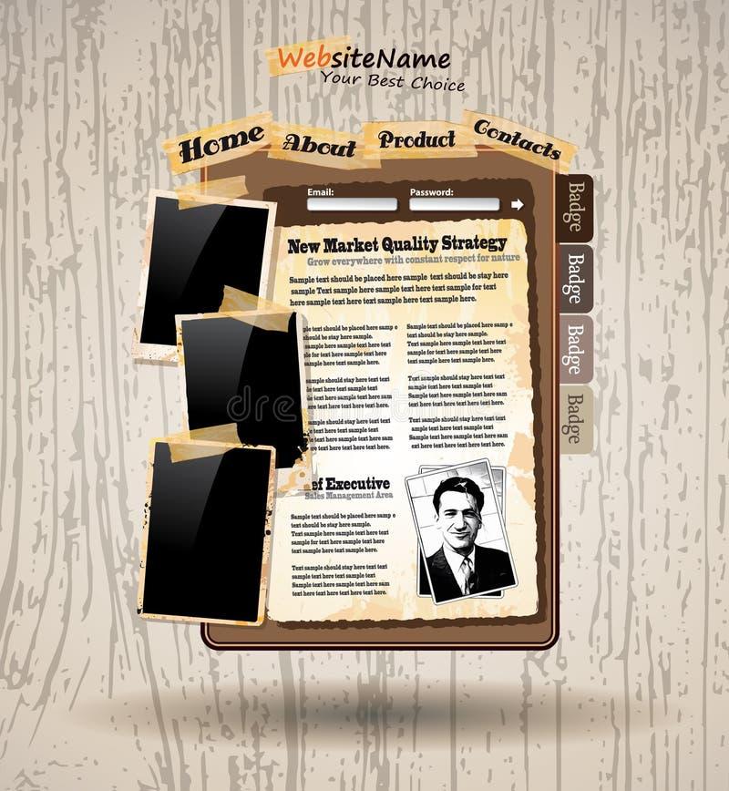Web site del estilo de la vendimia del libro de la foto stock de ilustración