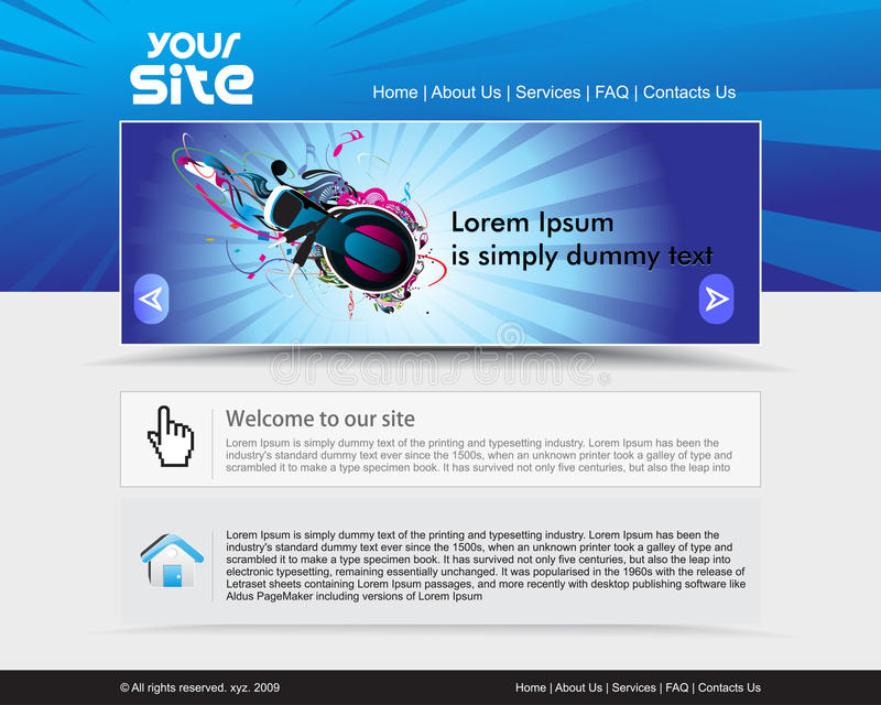 Web site design. Abstract music theme, web site design template, illustration stock illustration