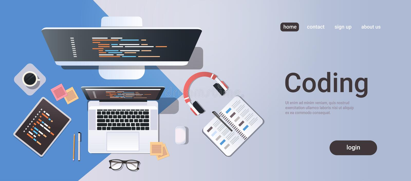 Web site design development program coding concept top angle view desktop computer monitor tablet laptop screen. Organizer office stuff horizontal copy space vector illustration