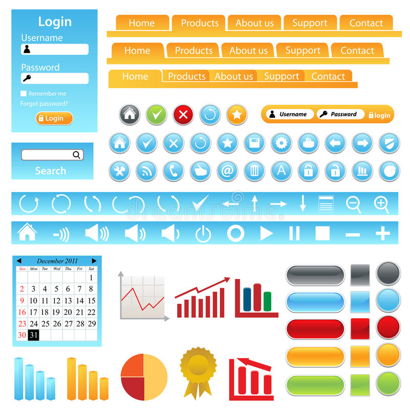 Web site design elements. Buttons, boxes and icons stock illustration