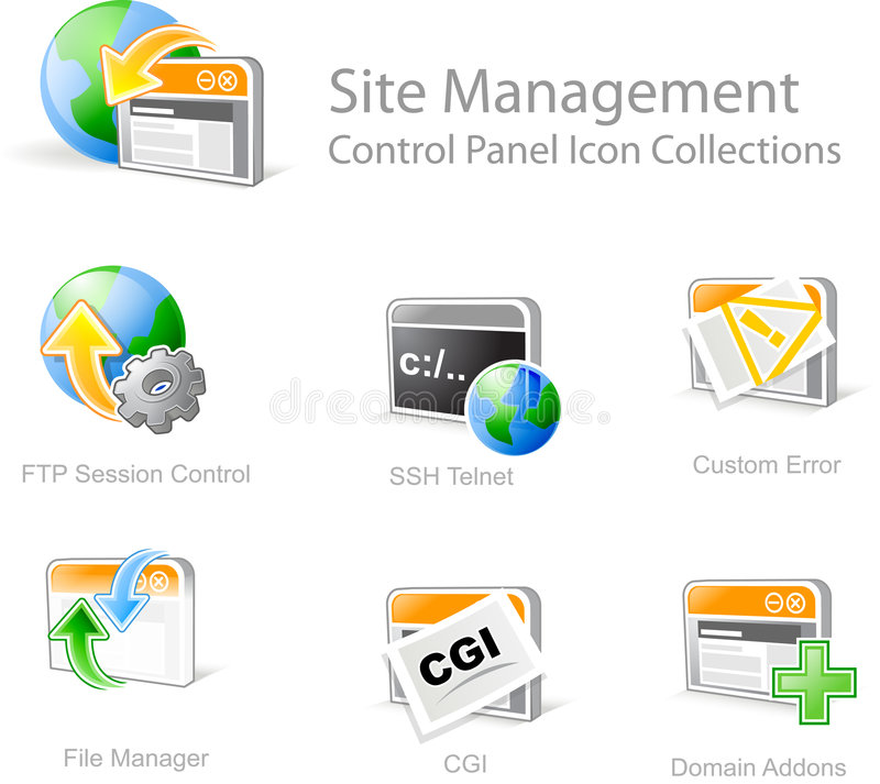 Web site design icons stock photos
