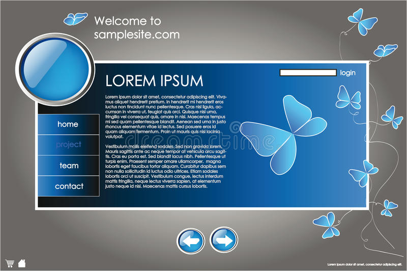 Web site design template 10. Web site design template for company with blue background, white frame, arrows and butterflies stock illustration