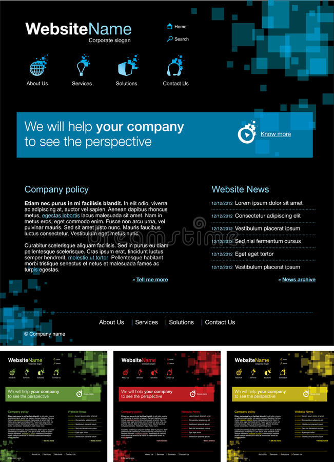Web site design template. In different colors vector illustration