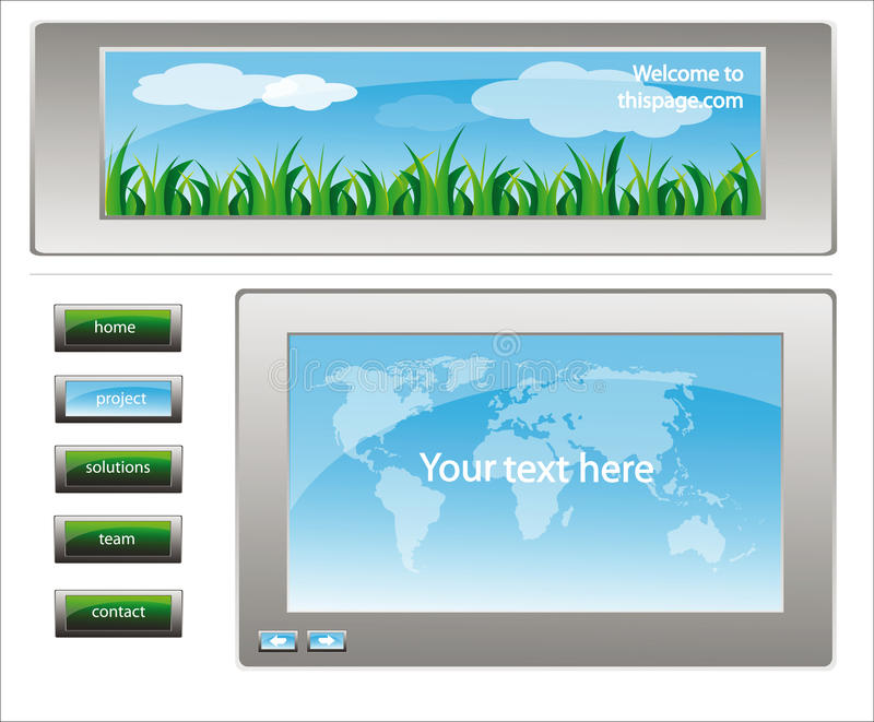 Web site design template 26. Web site design template for company with white background and map of the world and landscape frame stock illustration