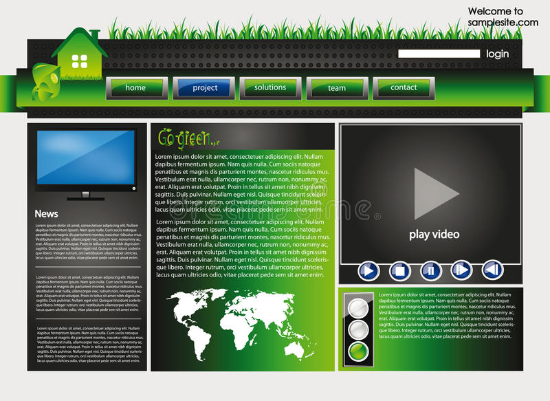 Web site design template 34. Web site design template for company with green background, white frame, arrows and ecology motive stock illustration