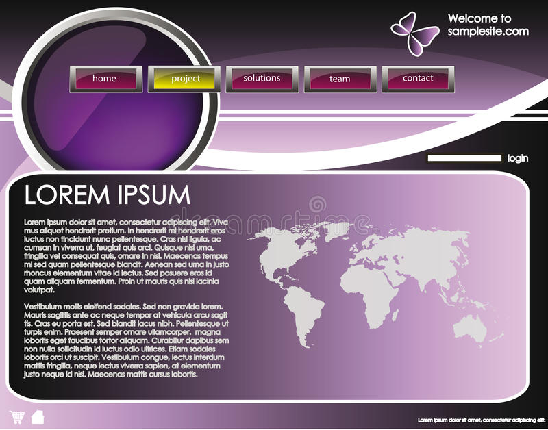 Web site design template 35. Web site design template for company with purple background, white frame, arrows and world map vector illustration