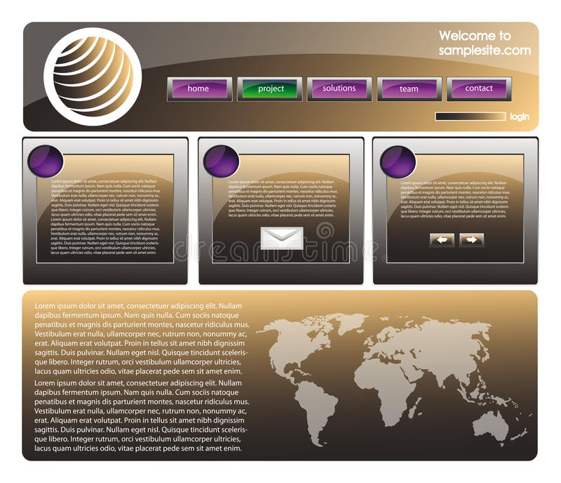 Web site design template 36. Web site design template for company with black glossy background, white frame, arrows and world map royalty free illustration